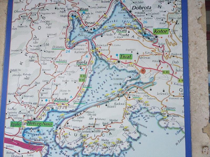 Бока Которская бухта на карте