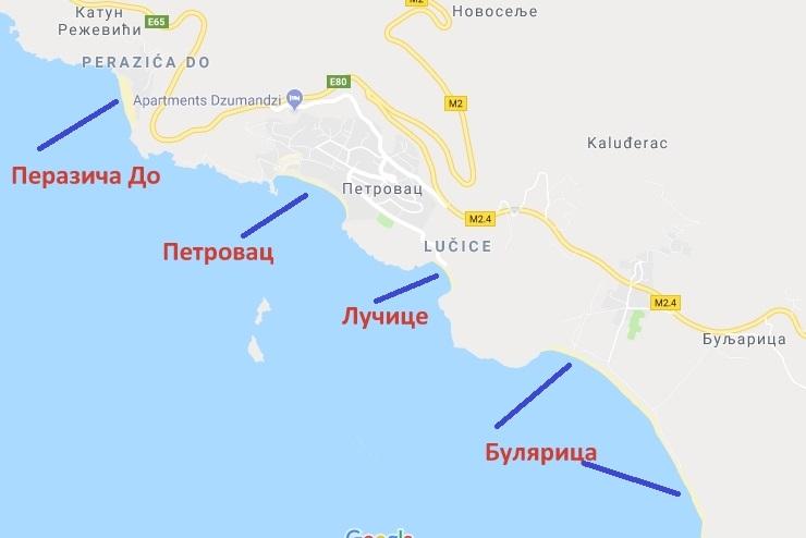 пляжи Петровца на карте